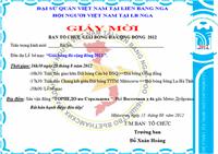 Giấy mời tham dự Lễ bế mạc Giải bóng đá cộng đồng người Việt tại LB Nga 2012