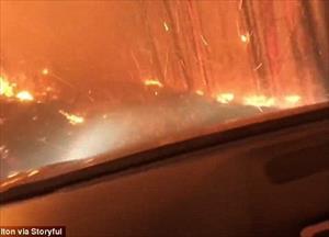 Video: Nữ tài xế hoảng loạn vừa khóc vừa lái xe qua biển lửa như tận thế ở Mỹ