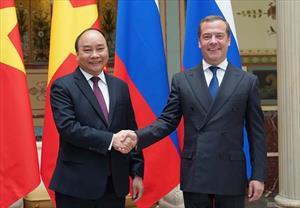 Chùm ảnh: Thủ tướng Nguyễn Xuân Phúc hội đàm với Thủ tướng Nga Dmitry Medvedev