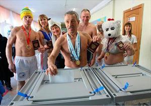 Những hình ảnh thú vị trong ngày bầu cử Tổng thống tại Nga