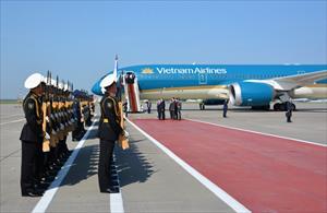 Tin ảnh: Lễ đón Tổng Bí Thư Nguyễn Phú Trọng và đoàn Đại biểu cấp cao Việt Nam tại Vnukovo 2- Moskva