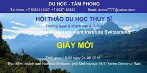 Thư mời Hội thảo du học Thụy Sĩ - Trường quản lý khách sạn & du lịch IMI (International Management Institute)