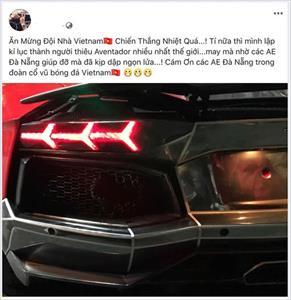 Đi bão ăn mừng tuyển Việt Nam, siêu xe Lamborghini nẹt pô cháy đuôi