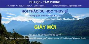 Thư mời dự Hội thảo du học Thụy Sĩ - Trường quản lý khách sạn và du lịch IMI