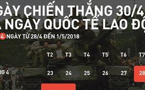 Người lao động nghỉ 5 ngày dịp Giỗ Tổ Hùng Vương và 30/4 - 1/5
