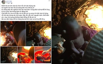 Bé trai sơ sinh bị mẹ cho vào túi nilon bỏ rơi trong thùng đựng sơn ngoài đường giữa trời lạnh giá