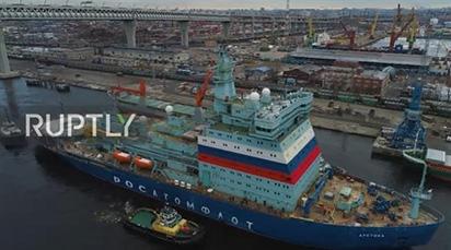 Cận cảnh tàu phá băng hạt nhân lớn nhất thế giới của Nga chạy thử