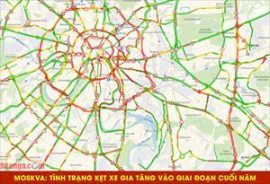 Moskva: Tình trạng kẹt xe gia tăng vào giai đoạn cuối năm