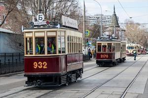 Xe điện tramvai cổ diễu hành ở Moskva