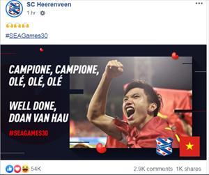 SC Heerenveen gửi thông điệp đến Đoàn Văn Hậu sau khi đoạt HCV SEA Games